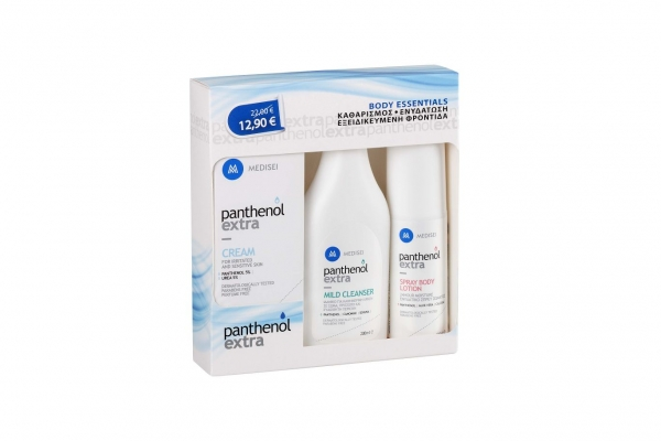 Panthenol Body Essentials Cream 100ml + Mild Cleanser 200ml + Spray Body Lotion 100ml