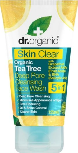 Dr. Organic Skin Clear Organic Tea Tree Deep Pore Cleansing Face Wash 5 in 1 125 ml