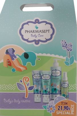 Pharmasept Πακέτο Προσφοράς Baby Care Mild Bath 500ml & Baby Extra Calm Cream 150ml & Baby Natural Oil 100ml+Baby Soothing Cream 150ml