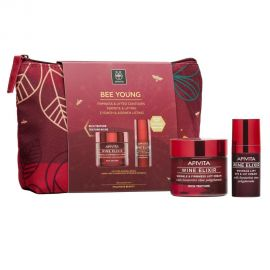 Apivita Σετ Bee Young - Wine Elixir (Πλούσια Υφή), 50ml & Eye & Lip Cream, 15ml