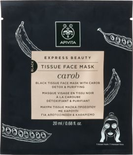 Apivita Express Beauty Black Tissue Face Mask Carob Μάσκα Προσώπου με Χαρούπι 20ml